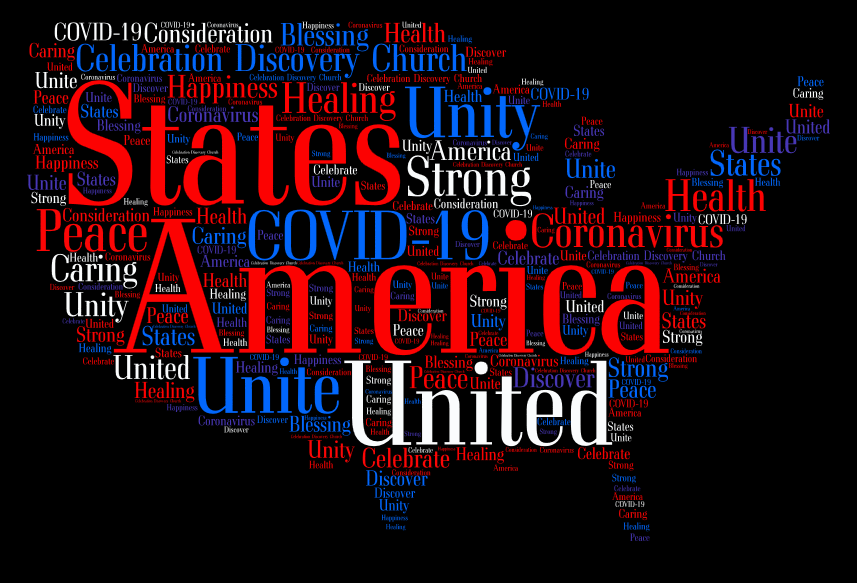 cdc celebration discovery church covid19 usa united states america country word collage