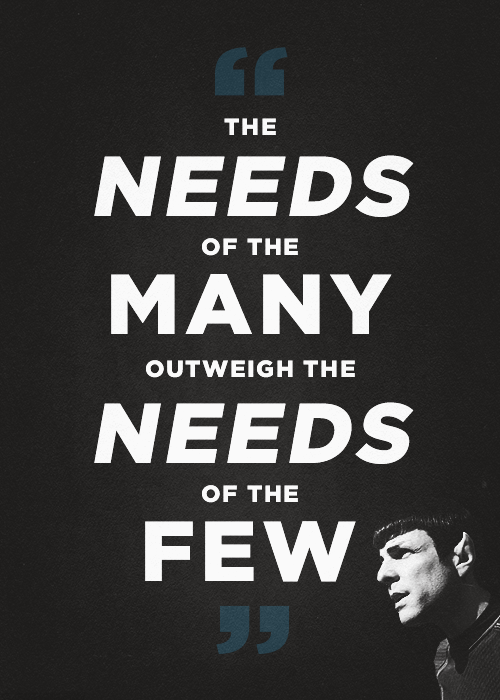 cdc celebration discovery church spock star trek quote the needs of the many outweigh the needs of the few